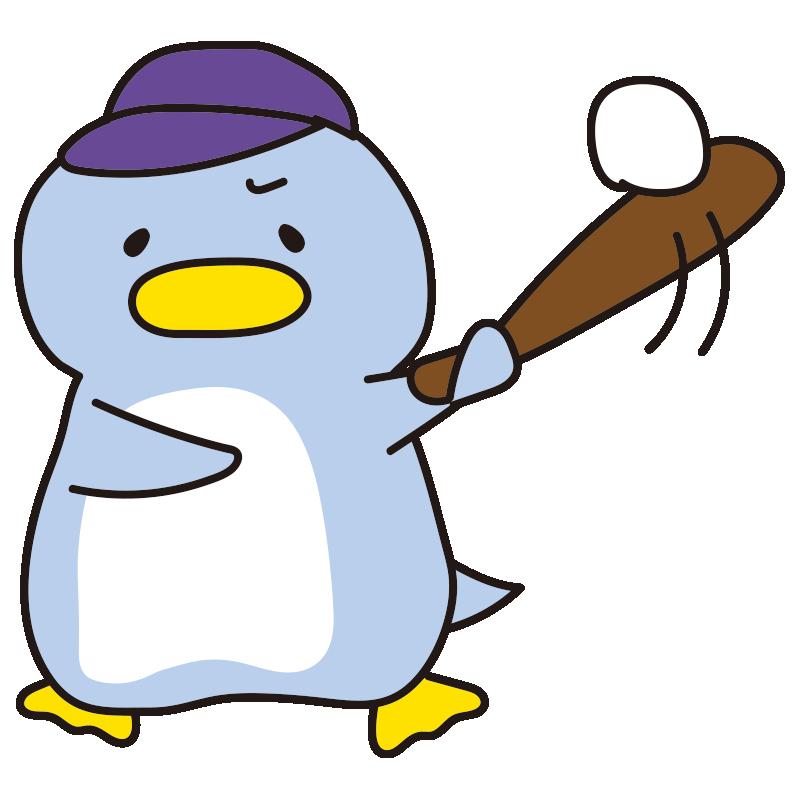 野球をするペンギン