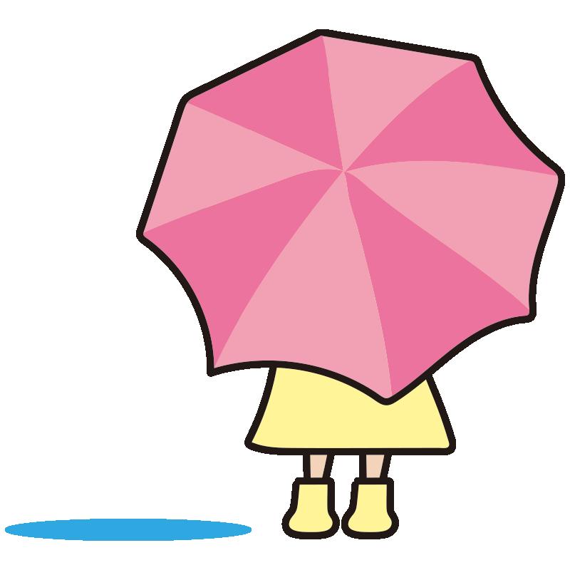 水たまりと後姿の女の子1