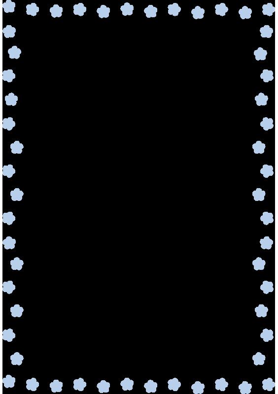 青い花の枠(縦)