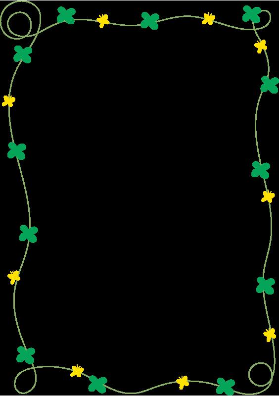 四葉のクローバーと蝶々の枠(縦)
