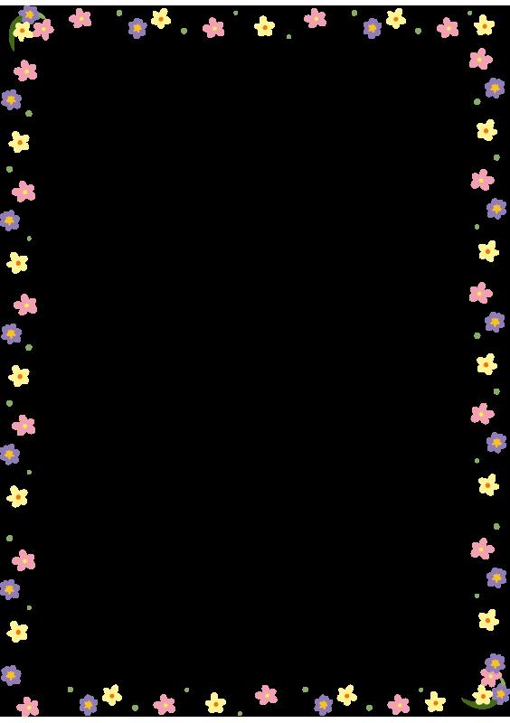 カラフルな小花の枠(縦)