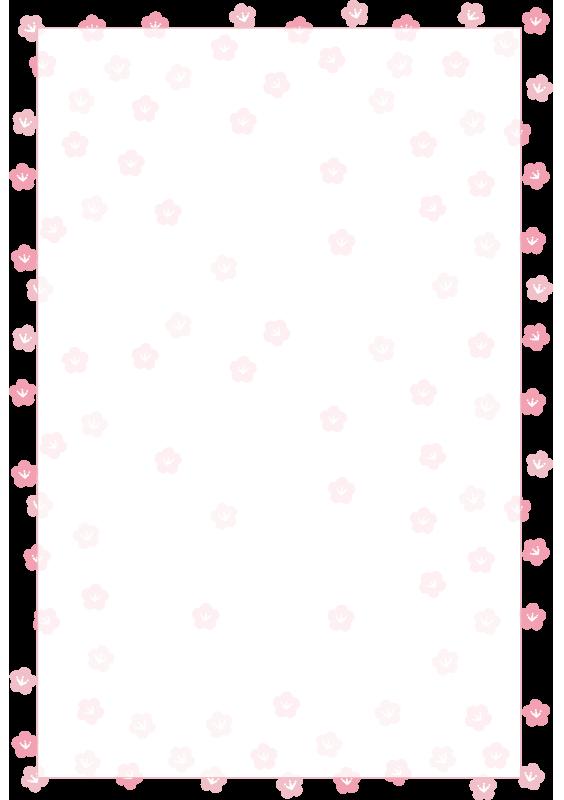 桃の花の枠2(縦)