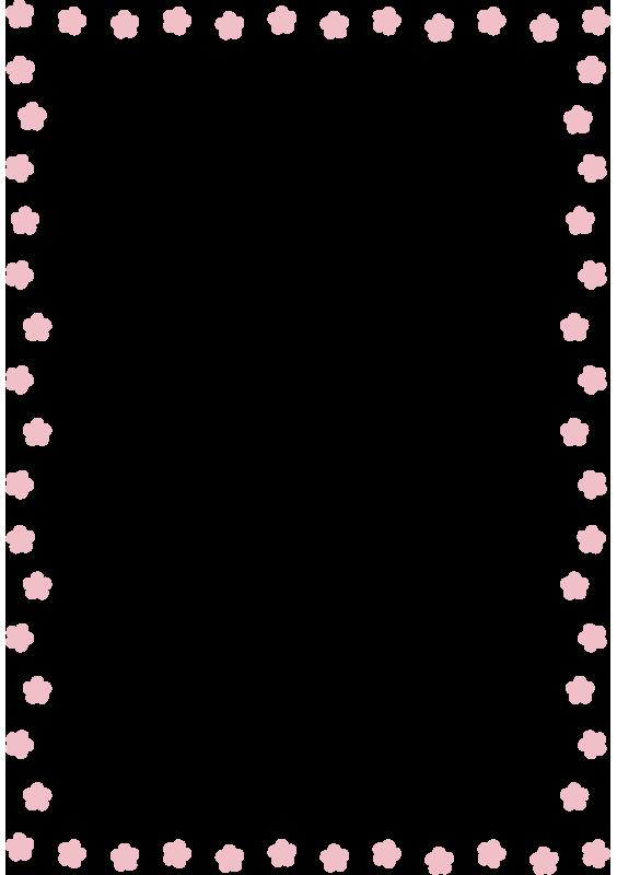 ピンクの花の枠(縦)