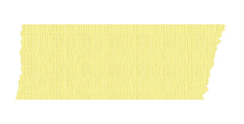 短く切った黄色いマスキングテープ