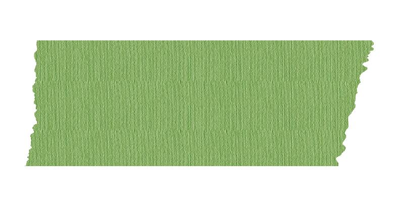 短く切った緑色のマスキングテープ