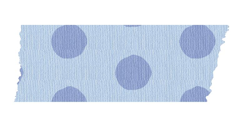 短く切った青い水玉のマスキングテープ