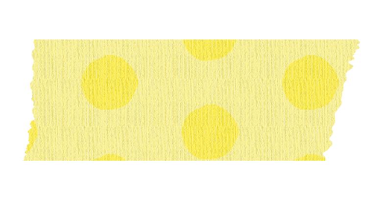 短く切った黄色い水玉のマスキングテープ