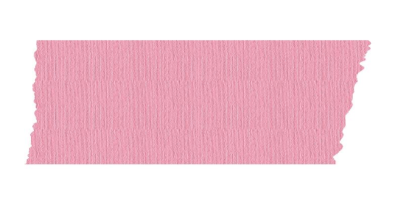 短く切ったピンク色のマスキングテープ