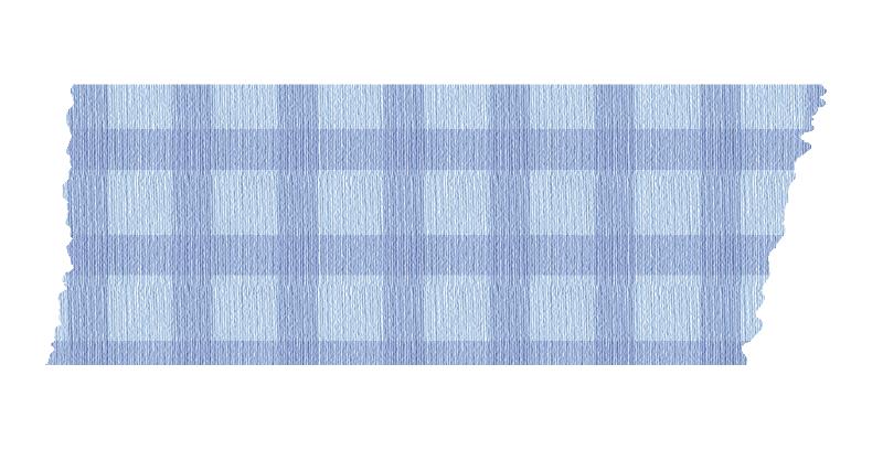 短く切った青いチェックのマスキングテープ