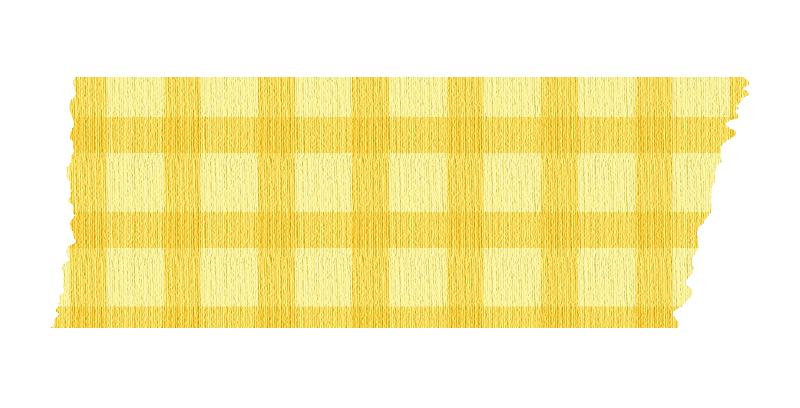 短く切った黄色いチェックのマスキングテープ