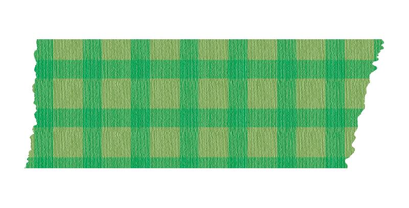 短く切った緑色のチェックのマスキングテープ