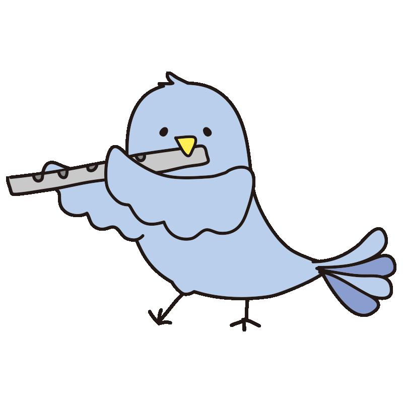 フルートを吹く青い鳥