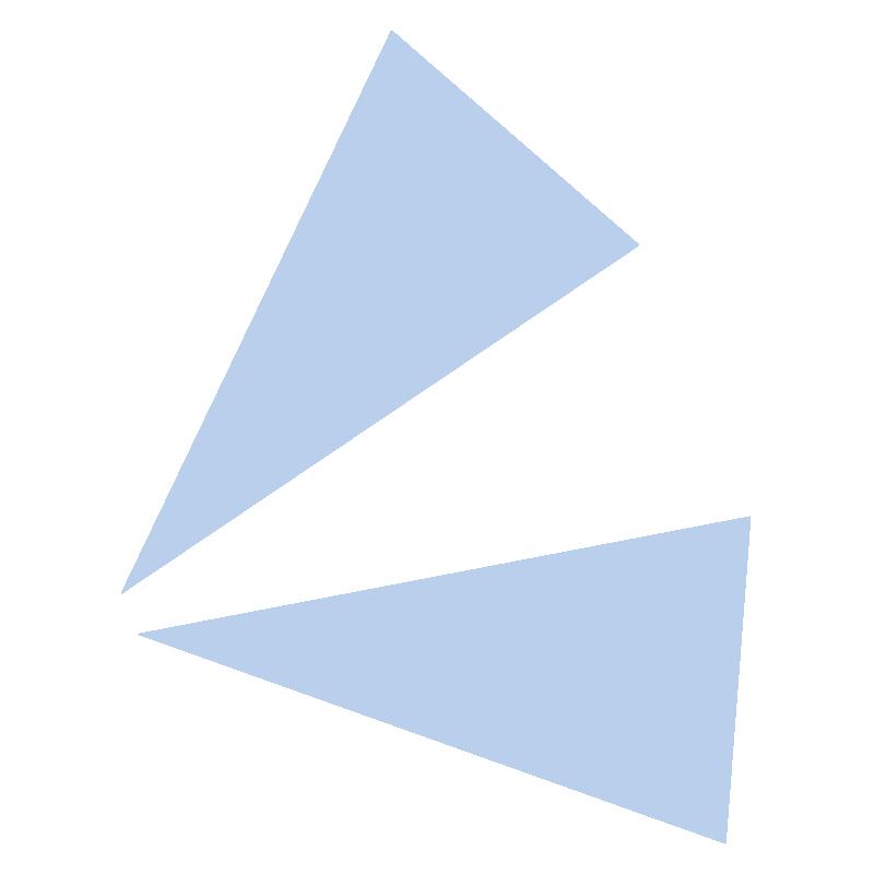 目立たせる三角の青い飾り