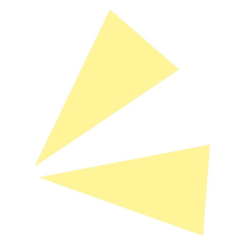 目立たせる三角の黄色い飾り