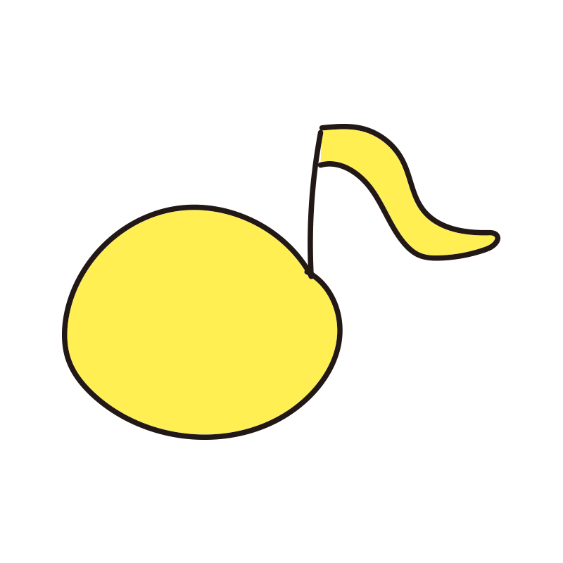 カラフルな音符(黄色)