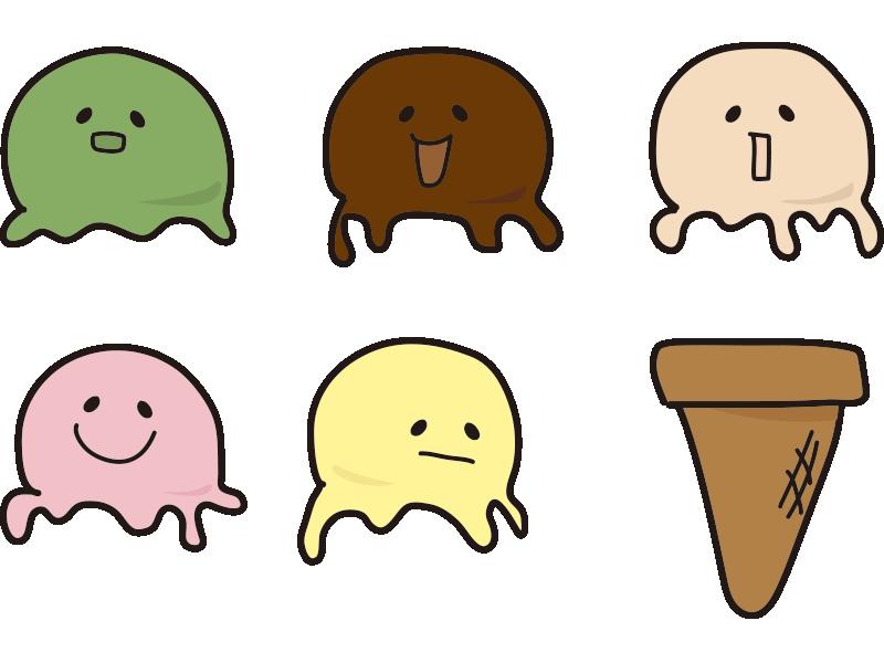 アイスクリームセット(顔あり)