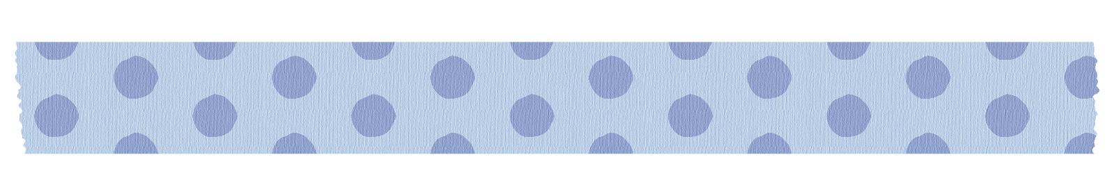 長く切った青い水玉のマスキングテープ