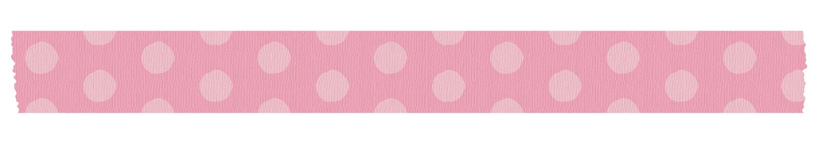 長く切ったピンク色の水玉のマスキングテープ