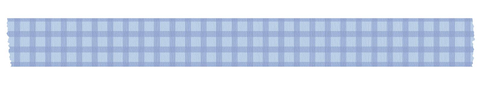長く切った青いチェックのマスキングテープ