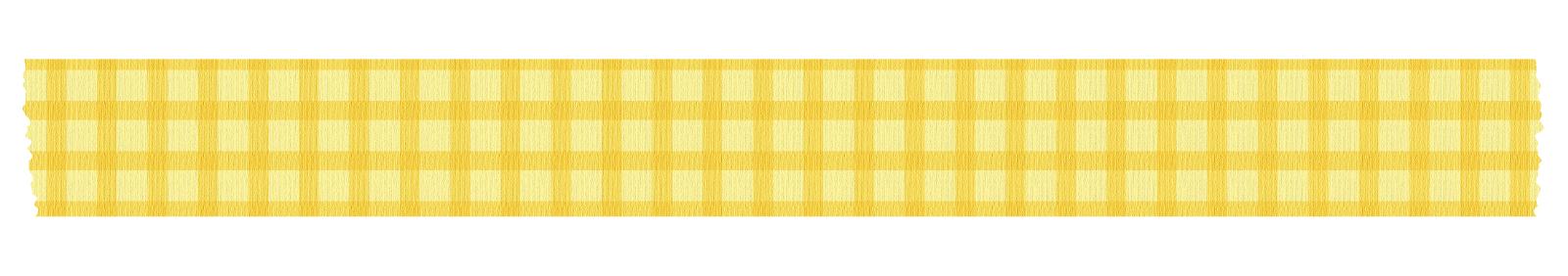 長く切った黄色いチェックのマスキングテープ