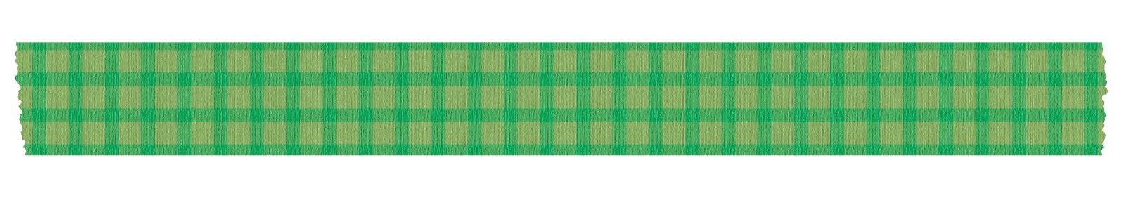 長く切った緑色のチェックのマスキングテープ