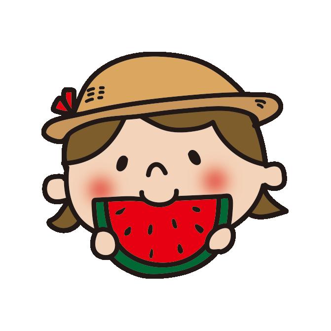 スイカを食べる女の子1