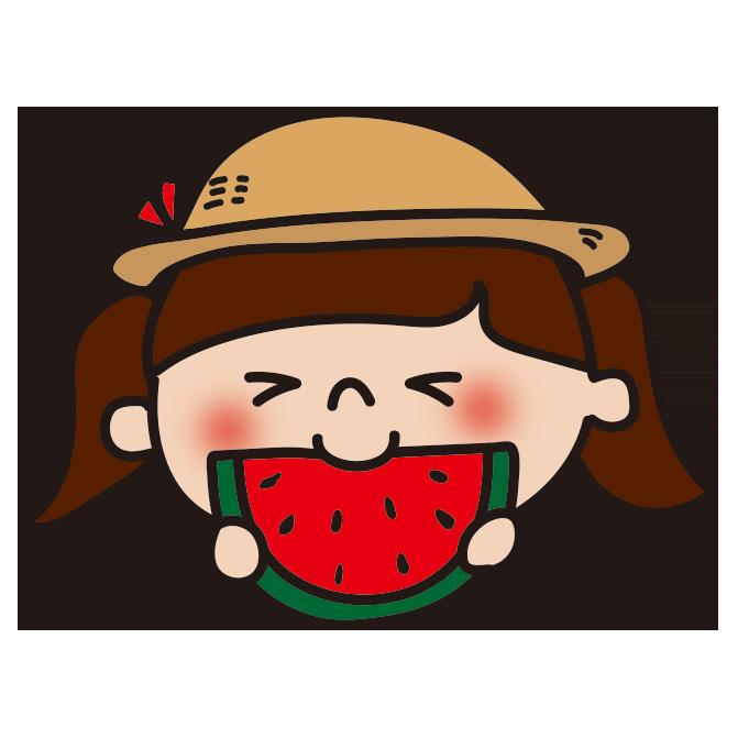 スイカを食べる女の子2