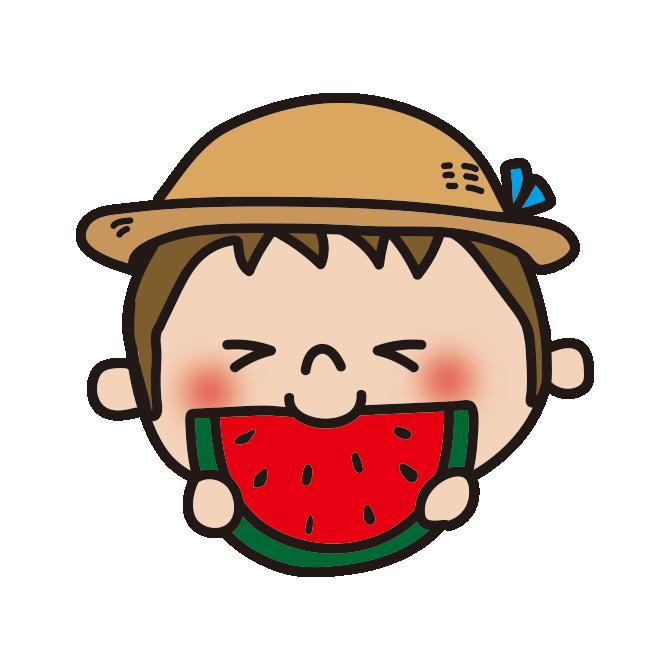 スイカを食べる男の子1