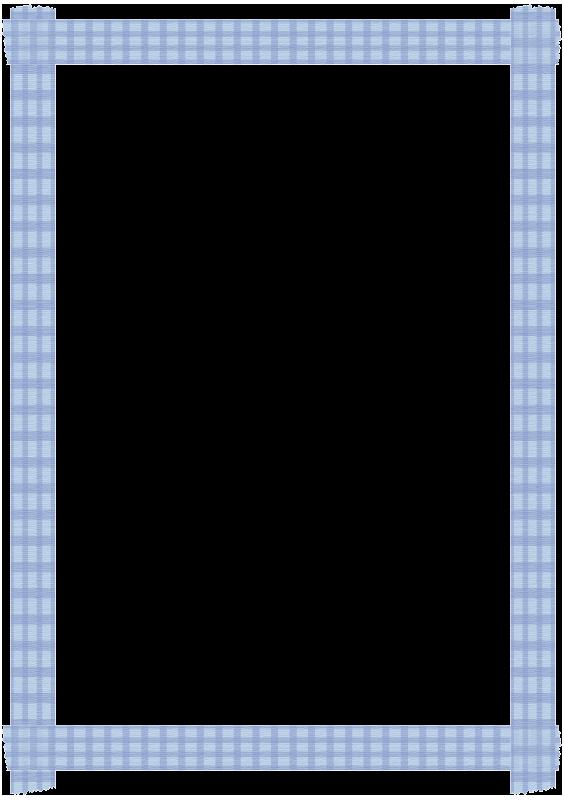 青いチェックのマスキングテープの枠