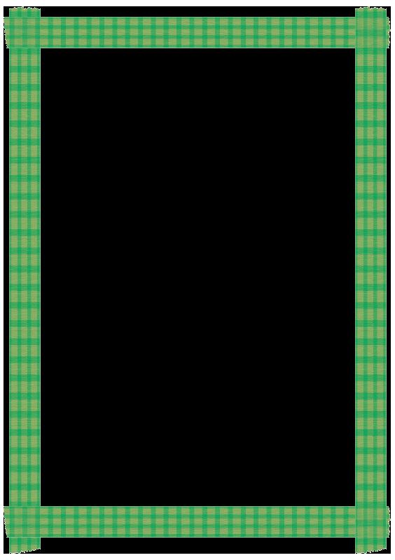 緑色のチェックのマスキングテープの枠