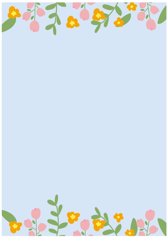 背景が青いお花のフレーム