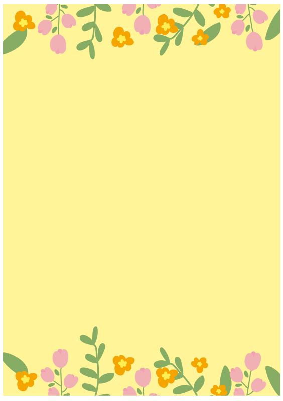 背景が黄色いお花のフレーム