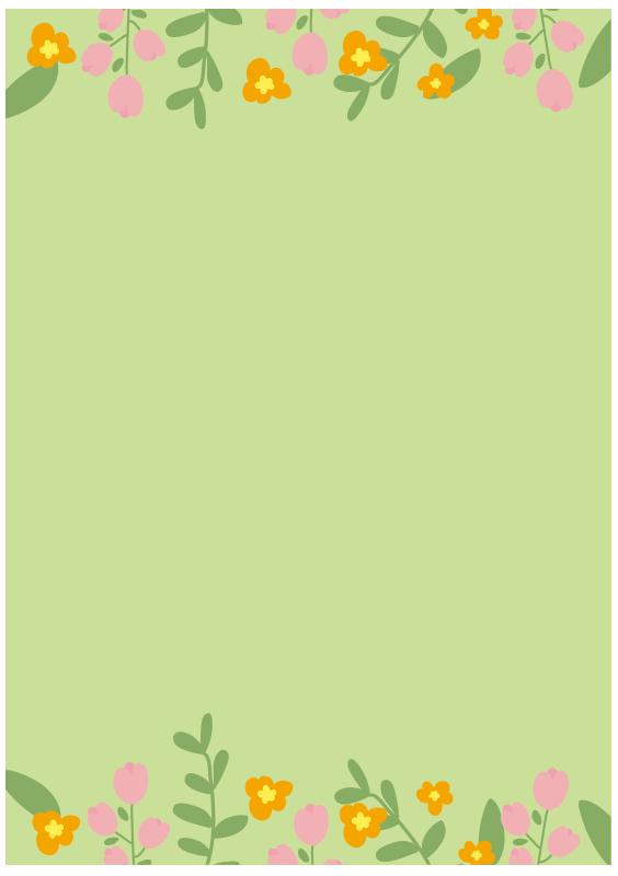 背景が緑色のお花のフレーム