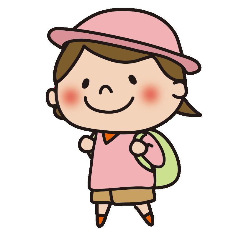 帽子をかぶって遠足に行く女の子1