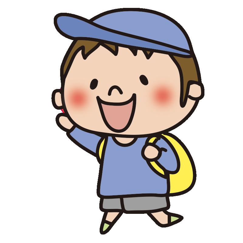 帽子をかぶって遠足に行く男の子1
