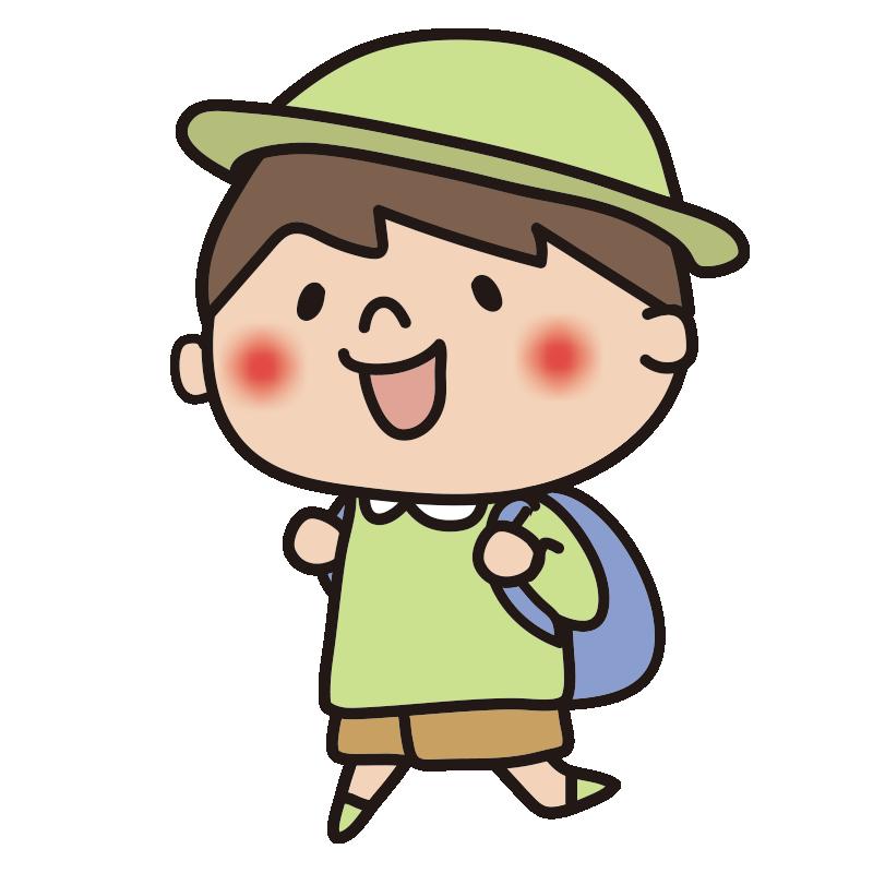 帽子をかぶって遠足に行く男の子2