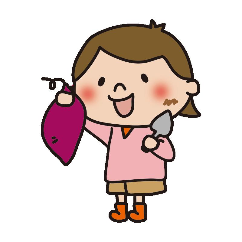 スコップでお芋掘りする女の子