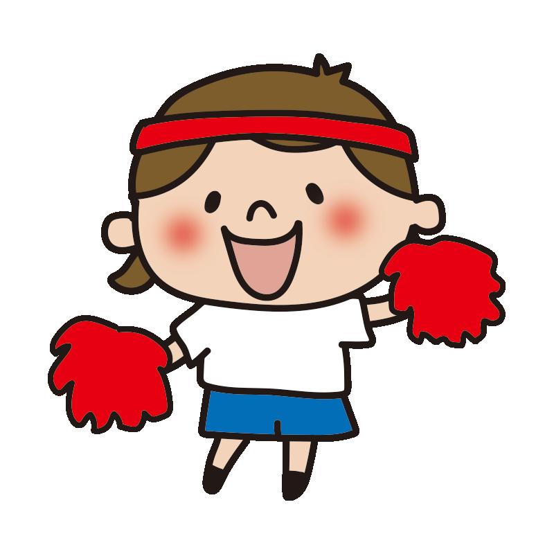 運動会で応援する赤組の女の子1