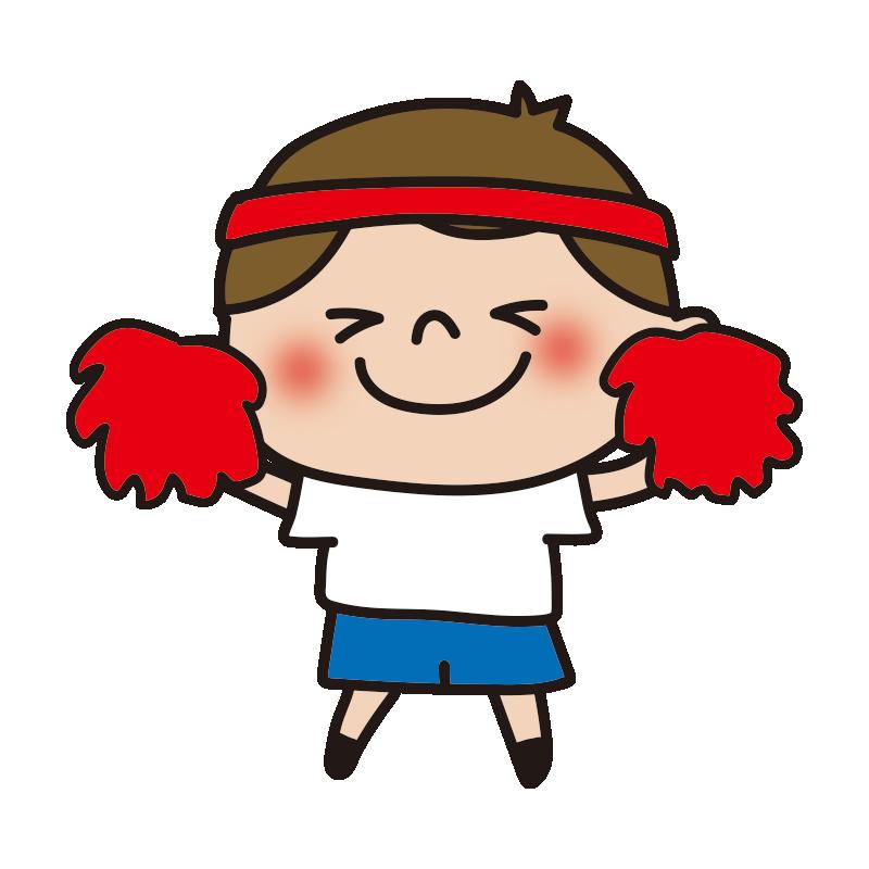 運動会で応援する赤組の女の子2