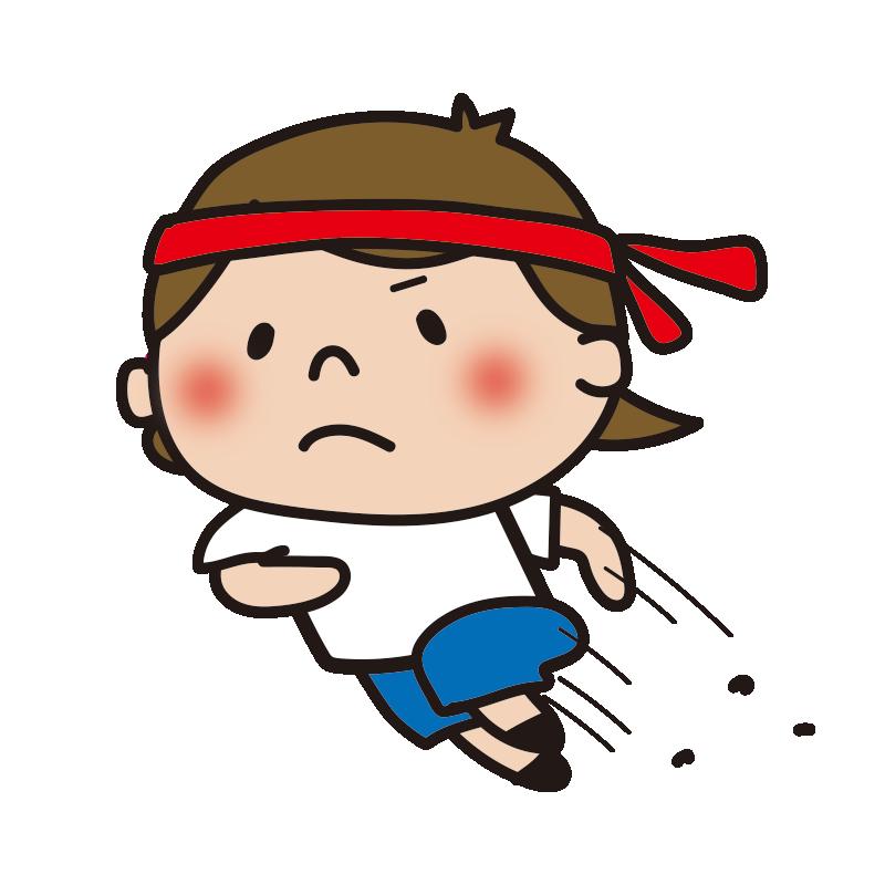 運動会で走る赤組の女の子