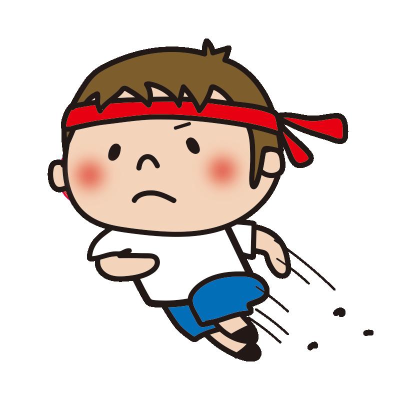 運動会で走る赤組の男の子