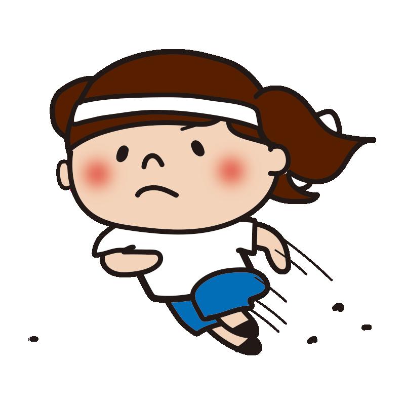 運動会で走る白組の女の子