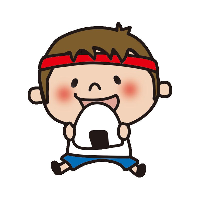運動会でおにぎりを食べる赤組の男の子