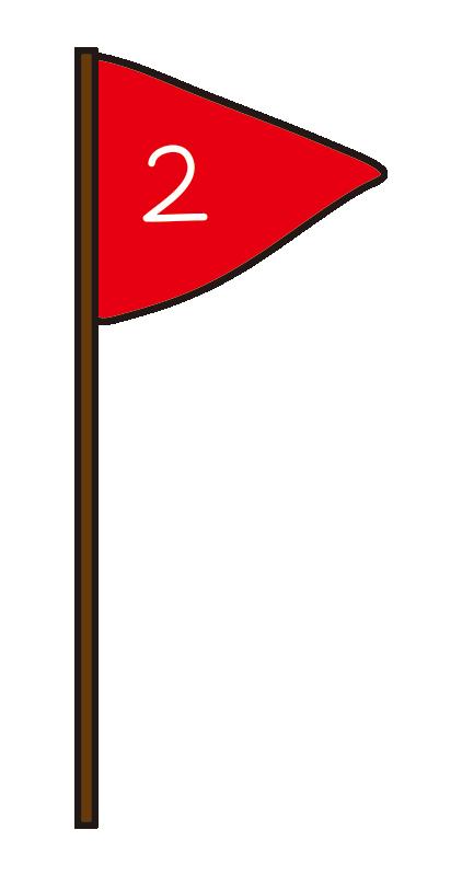 赤色の2位の旗
