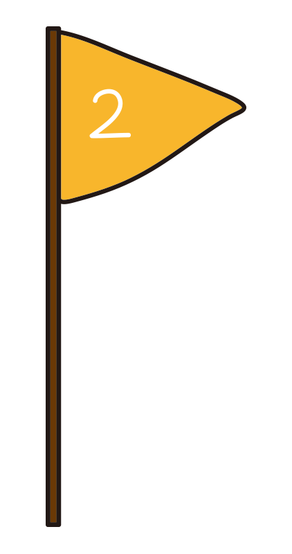 黄色の2位の旗