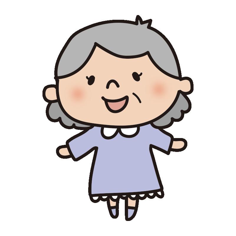 パジャマ姿のおばあさん
