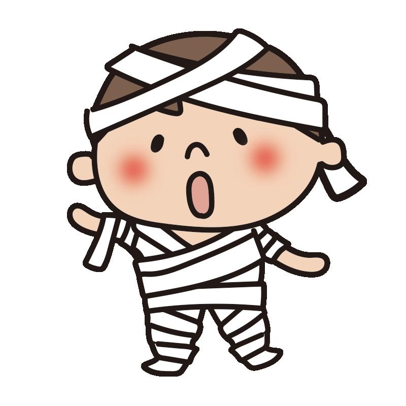 ハロウィンで仮装した子供(包帯)
