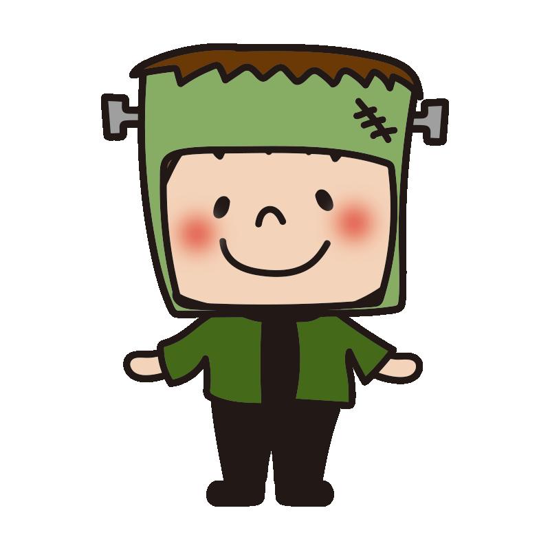 ハロウィンで仮装した子供(フランケンシュタイン)