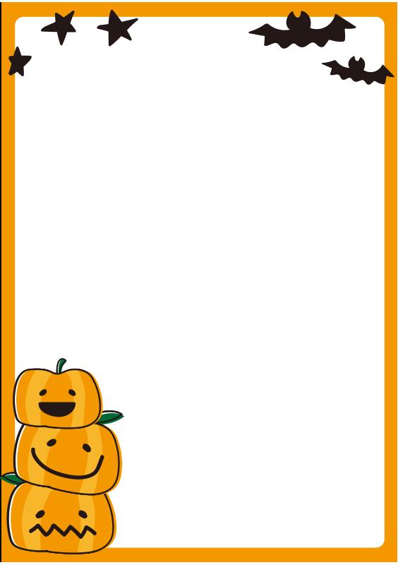 ハロウィンのかぼちゃの枠(縦)