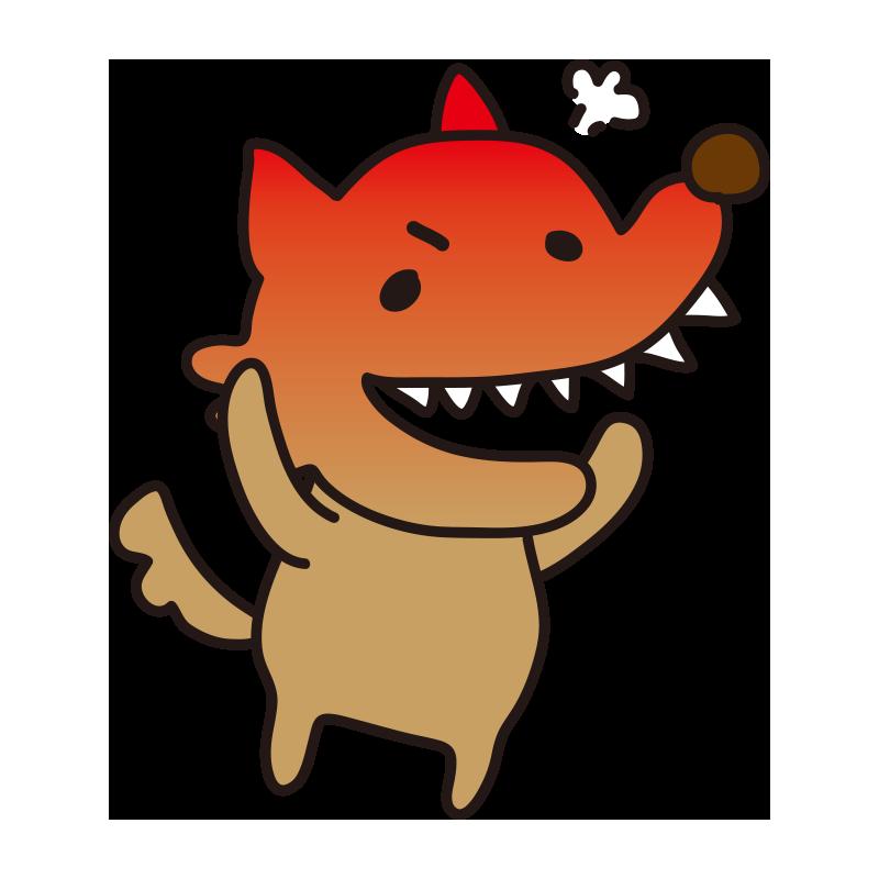怒って真っ赤になっている怖くないオオカミ